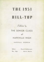Page 5, 1951 Edition, Hapeville High School - Hilltop Yearbook (Hapeville, GA) online yearbook collection
