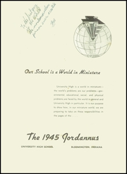 Page 5, 1945 Edition, University High School - Jordannus Yearbook (Bloomington, IN) online yearbook collection