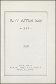 Page 11, 1922 Edition, Kendallville High School - Kay Aitch Ess Yearbook (Kendallville, IN) online yearbook collection