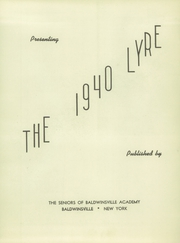 Page 5, 1940 Edition, Charles W Baker High School - Lyre Yearbook (Baldwinsville, NY) online yearbook collection