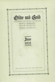 Page 5, 1921 Edition, Santa Barbara High School - Olive and Gold Yearbook (Santa Barbara, CA) online yearbook collection