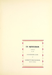 Page 7, 1929 Edition, Garrett High School - Aeolian Yearbook (Garrett, IN) online yearbook collection