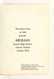 Page 5, 1960 Edition, Garrett High School - Aeolian Yearbook (Garrett, IN) online yearbook collection