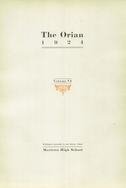 Page 5, 1924 Edition, Marietta High School - Orian Yearbook (Marietta, OH) online yearbook collection