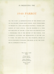 Page 11, 1940 Edition, Polytechnic High School - Parrot Yearbook (Fort Worth, TX) online yearbook collection