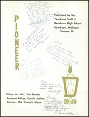 Page 5, 1959 Edition, Dearborn High School - Pioneer Yearbook (Dearborn, MI) online yearbook collection