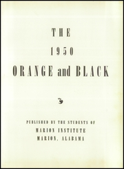 Page 5, 1950 Edition, Marion Military Institute - Orange and Black Yearbook (Marion, AL) online yearbook collection