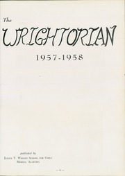 Page 9, 1958 Edition, Wright School for Girls - Wrightorian Yearbook (Mobile, AL) online yearbook collection