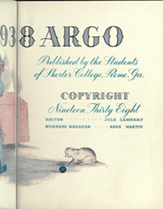 Page 9, 1938 Edition, Shorter College - Argo Yearbook (Rome, GA) online yearbook collection