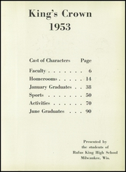 Page 7, 1953 Edition, Rufus King High School - Kings Crown Yearbook (Milwaukee, WI) online yearbook collection