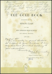 Page 7, 1936 Edition, Hot Springs High School - Old Gold Book Yearbook (Hot Springs, AR) online yearbook collection