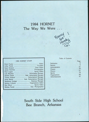 Page 5, 1984 Edition, South Side High School - Hornet Yearbook (Bee Branch, AR) online yearbook collection
