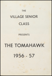 Page 5, 1957 Edition, Village High School - Tomahawk Yearbook (Village, AR) online yearbook collection