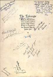 Page 8, 1926 Edition, Galileo High School - Telescope Yearbook (San Francisco, CA) online yearbook collection