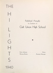 Page 7, 1940 Edition, Galt High School - Highlights Yearbook (Galt, CA) online yearbook collection