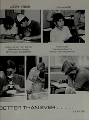 Page 5, 1985 Edition, Liberty High School - Lion Yearbook (Brentwood, CA) online yearbook collection