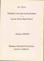 Page 7, 1947 Edition, Lincoln High School - El Eco Yearbook (Lincoln, CA) online yearbook collection