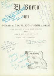 Page 5, 1955 Edition, Burroughs High School - Burro Yearbook (Ridgecrest, CA) online yearbook collection