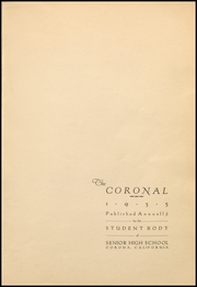 Page 5, 1935 Edition, Corona High School - Coronal Yearbook (Corona, CA) online yearbook collection
