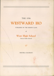 Page 9, 1936 Edition, West High School - Westerner Yearbook (Denver, CO) online yearbook collection