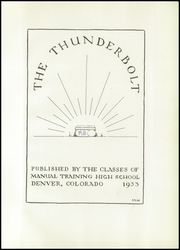 Page 5, 1933 Edition, Manual High School - Thunderbolt Yearbook (Denver, CO) online yearbook collection