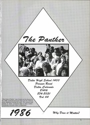 Page 5, 1986 Edition, Delta High School - Panther Yearbook (Delta, CO) online yearbook collection
