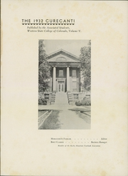 Page 5, 1932 Edition, Western State Colorado University - Curecanti Yearbook (Gunnison, CO) online yearbook collection
