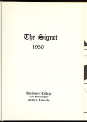 Page 5, 1950 Edition, Rockmont College - Yearbook (Denver, CO) online yearbook collection