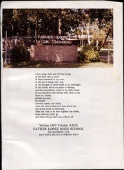 Page 5, 1983 Edition, Father Lopez High School - Veritas Yearbook (Daytona Beach, FL) online yearbook collection