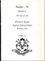 Page 5, 1970 Edition, Kaynor Regional Vocational Technical High School - Panther Yearbook (Waterbury, CT) online yearbook collection