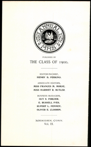 Page 12, 1900 Edition, Meriden High School - Annual Yearbook (Meriden, CT) online yearbook collection