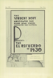 Page 7, 1930 Edition, Huntington Park High School - El Recuerdo Yearbook (Huntington Park, CA) online yearbook collection
