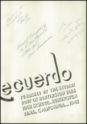 Page 7, 1942 Edition, Huntington Park High School - El Recuerdo Yearbook (Huntington Park, CA) online yearbook collection
