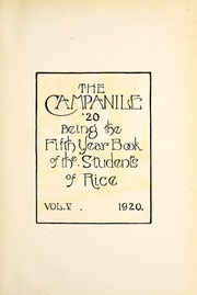 Page 9, 1920 Edition, Rice University - Campanile Yearbook (Houston, TX) online yearbook collection