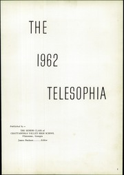 Page 5, 1962 Edition, Chattanooga Valley High School - Telesophia Yearbook (Flintstone, GA) online yearbook collection