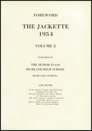 Page 5, 1954 Edition, Richland High School - Jackette Yearbook (Richland, GA) online yearbook collection