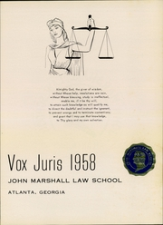 Page 3, 1958 Edition, John Marshall Law School - Vox Juris Yearbook (Atlanta, GA) online yearbook collection