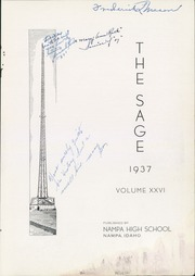 Page 5, 1937 Edition, Nampa High School - Sage Yearbook (Nampa, ID) online yearbook collection