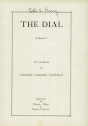 Page 7, 1926 Edition, Carbondale Community High School - Dial Yearbook (Carbondale, IL) online yearbook collection