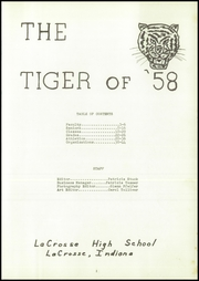 Page 5, 1958 Edition, Lacrosse High School - Tiger Tracks Yearbook (Lacrosse, IN) online yearbook collection