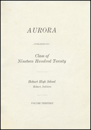 Page 5, 1920 Edition, Hobart Senior High School - Memories Yearbook (Hobart, IN) online yearbook collection