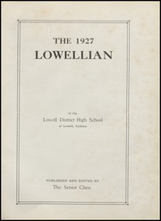Page 5, 1927 Edition, Lowell High School - Lowellian Yearbook (Lowell, IN) online yearbook collection
