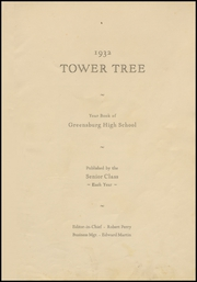Page 7, 1932 Edition, Greensburg High School - Tower Tree Yearbook (Greensburg, IN) online yearbook collection