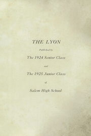 Page 5, 1925 Edition, Salem High School - Lyon Yearbook (Salem, IN) online yearbook collection