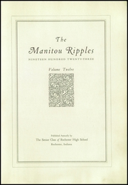 Page 7, 1923 Edition, Rochester High School - Manitou Ripples Yearbook (Rochester, IN) online yearbook collection