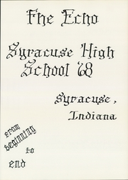 Page 5, 1968 Edition, Syracuse High School - Echo Yearbook (Syracuse, IN) online yearbook collection