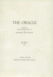 Page 7, 1927 Edition, Mulberry High School - Oracle Yearbook (Mulberry, IN) online yearbook collection