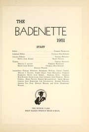 Page 9, 1951 Edition, West Baden High School - Badenette Yearbook (West Baden Springs, IN) online yearbook collection