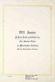 Page 6, 1921 Edition, Manchester College - Aurora Yearbook (North Manchester, IN) online yearbook collection