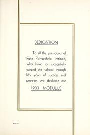 Page 9, 1933 Edition, Rose Hulman Institute of Technology - Modulus Yearbook (Terre Haute, IN) online yearbook collection